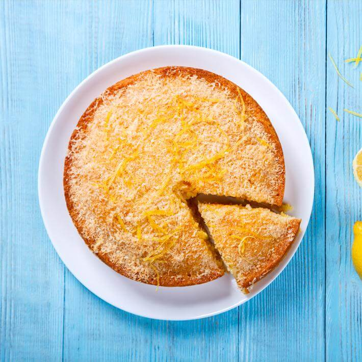 Low Carb Lemon Coconut Custard Pie with Coconut Milk