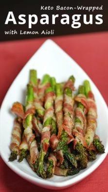 Keto Bacon-Wrapped Asparagus with Lemon Aioli