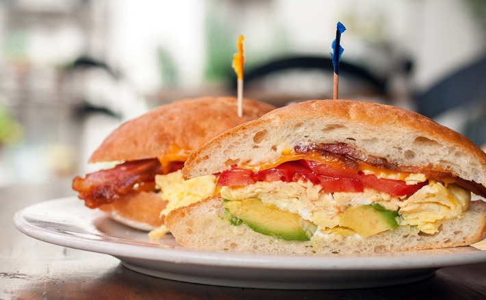 Five-Layer Veggie (and Ham) Sandwich