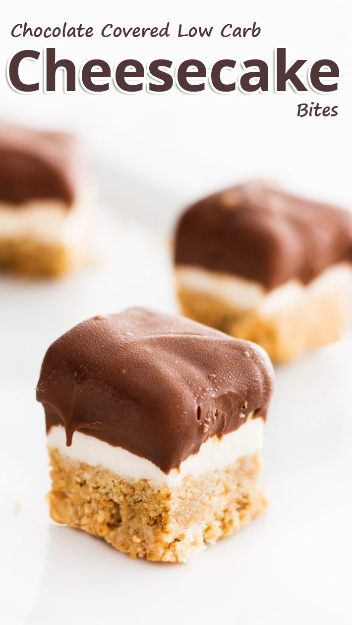 Chocolate Covered Low Carb Cheesecake Bites